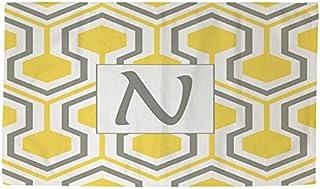 Manual carpinteros y tejedoras Dobby baño alfombra, 4by 182,88, monograma letra N, Amarillo en forma de panal