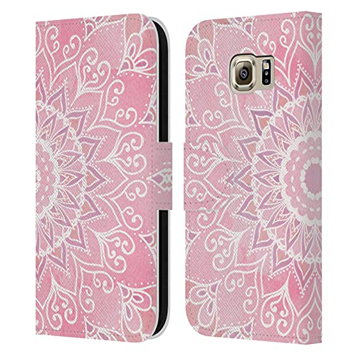 Head Case Designs Licenza Ufficiale Nika Martinez Caramelle Mandala Cover in Pelle a Portafoglio Compatibile con Samsung Galaxy S6
