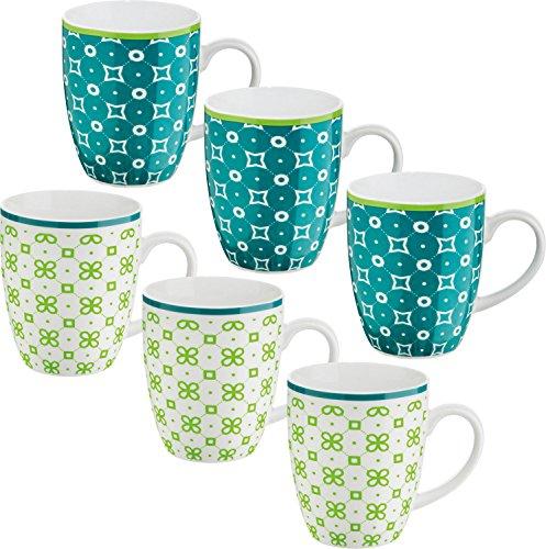 Gepolana Kaffeebecher 6er-Pack - Kaffeetasse - Teetasse - Becher - Tasse - Porzellan - grün - petrol - spülmaschinengeeignet - mikrowellengeeignet