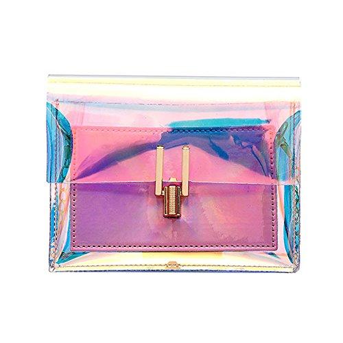 VECDY Damen Shopper Tasche Mode Frauen Laser Transparent Crossbody Taschen Messenger Strandtasche Brusttasche aus Leder Umhängetasche