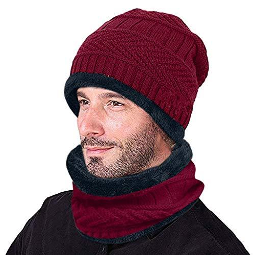 Cache-cou tricoté bonnet écharpe ensemble fourrure doublure en laine épais chaud tricot bonnets...