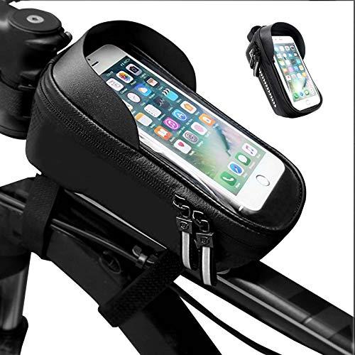 CuiCui Bicicleta Bolsa de Marco Frontal para Teléfono Móvil Bolsa Marco Tubo Superior Impermeable Bolsa de Bicicleta con Soporte Pantalla Táctil Caja Adecuada para Hombres y Mujeres