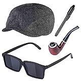 Beefunny Detektiv Zubehör Kit Kostüm Zubehör Set Detektiv Hut Lupe Tabak Pfeife Verkleidung Kostüm Set Gr. C, mehrfarbig