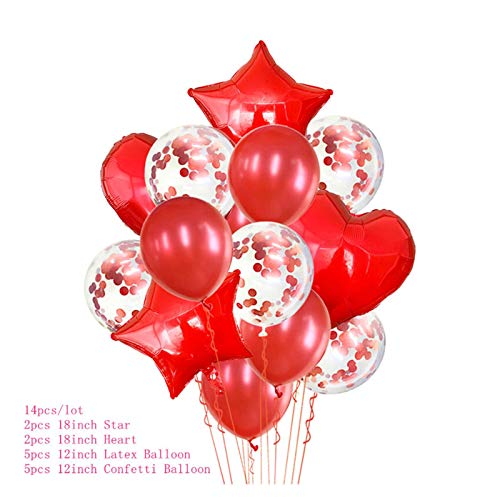 Yinyimei Balloon Stand Birthday Party Balloons Stand Balloon Holder Column Plastic Balloon Stick Birthday Party Decorations Kids Adult Wedding Baloon (Color : 14pcs red Confetti)