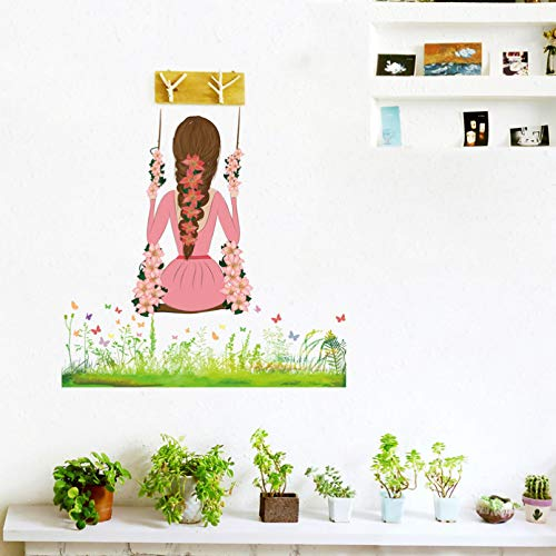 TAOYUE Swinging Girl On The Grass Wall Sticker for Girls Rooms Home Door Decoration Mural Decals Glass Window Stickers Wallpaper