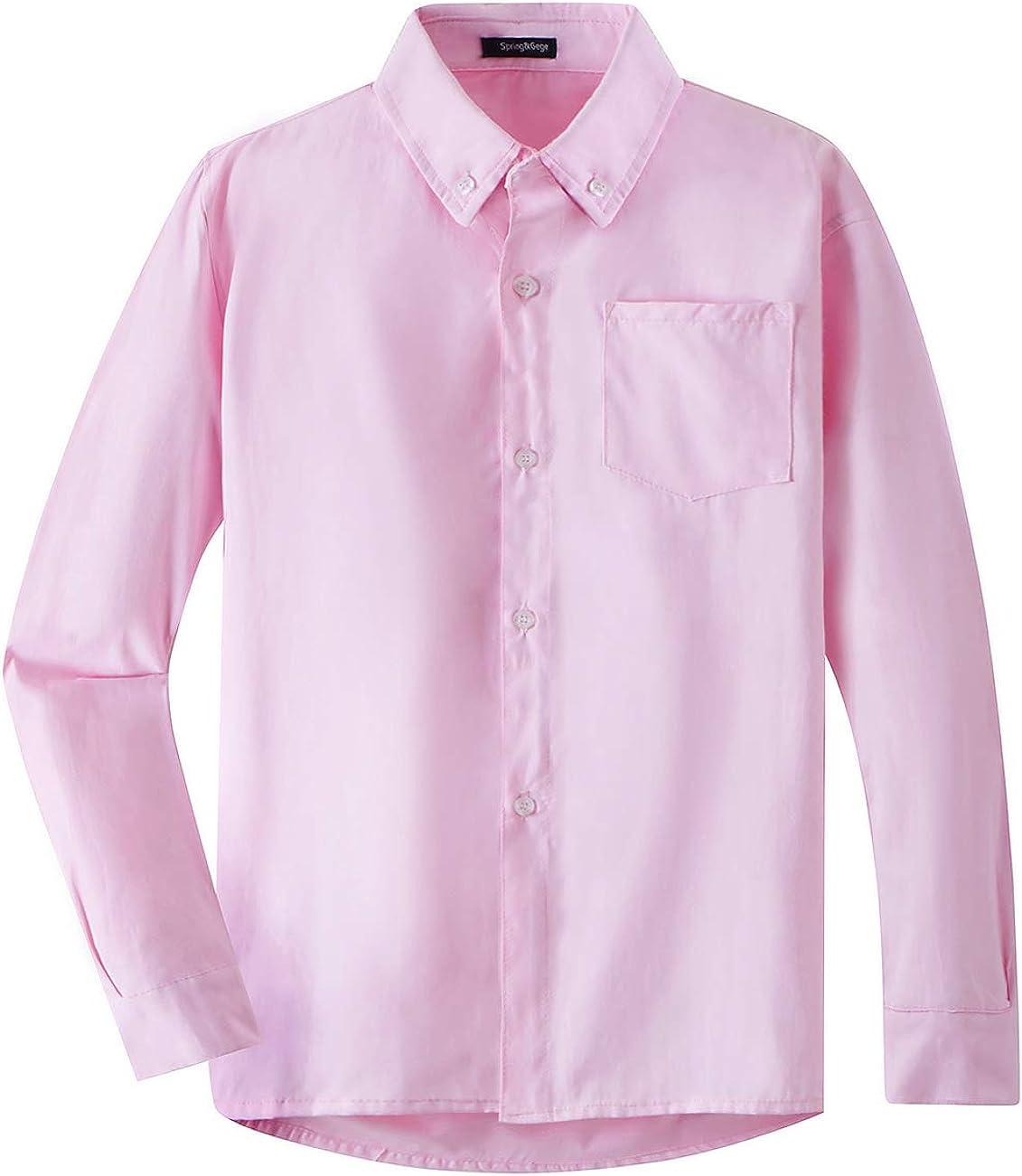 Spring&Gege Boys' Long Sleeve Uniform Oxford Dress Shirt Solid