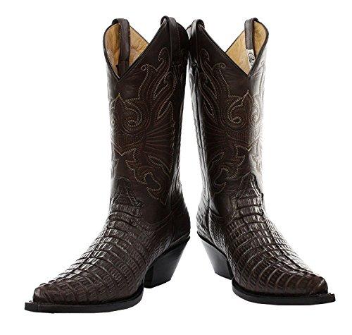 Rectificadoras Carolina Croc Botas de Cuero de cocodrilo en Color marrón Botas Vaqueras de Estilo Occidental (Mens UK 12 / EU 46)
