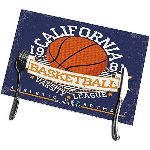 sunnee-shop Esstisch Tischsets Set von 4 Vintage Grange Stamp Basketball Emblem Sport