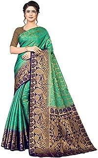 Neerav Exports Kanjivaram Silk With Weaving Zari Butta Saree (Green)