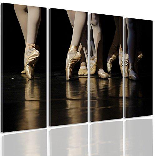 Feeby. Cuadro en Lienzo - 4 Partes - Cuadros decoración, Imagen Impresa en Lienzo, Canvas, Tipo C, 80x60 cm, Ballet, Bailarines, PIES, MARRÓN