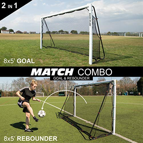 QuickPlay 2in1 Soccer Goal + Rebounder | Use as 8x5' Goal from The Front OR a Soccer Rebounder from The Back | The Ideal Team Shooting Target or Backyard Football Trainer 2YR Warranty