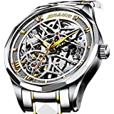 Men Mechanical Stainless Steel Skeleton Watch Automatic Movment Gold Silver Wristwatch Waterproof Hollow Military Self Winding Casual Luxury Business Classic Gifts Skull Tourbillon Watch Formal Dress