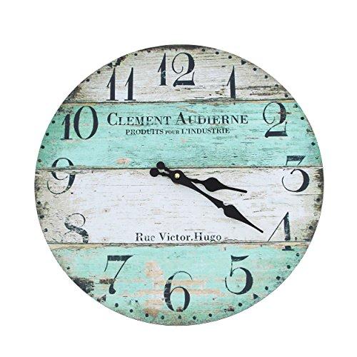 Vevendo Wanduhr - Clement - Holz Küchenuhr mit großem Ziffernblatt aus MDF, Retro Uhr im angesagtem Shabby Chic Design mit leisem Quarz-Uhrwerk, Ø: 32 cm