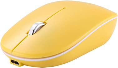 Yellow 2.4GHz Wireless Bluetooth Mouse Noiseless Click Dual Mode Rechargeable Wireless Mouse Compatible for PC, Laptop, Ma...
