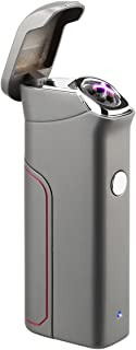 Kivors Dual Arc Lighter USB Rechargeable Windproof Electrical Plasma X Beam Arc Lighter with 800 mAh Super Volume Replaceable Battery (Grey)