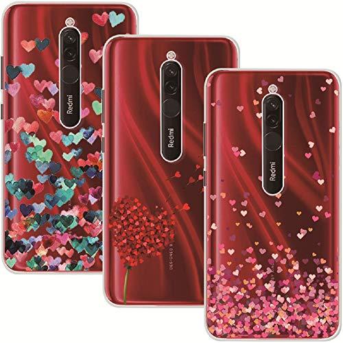Young & Ming Cover Compatible per Xiaomi Redmi 8, (3 Pack) Morbido Trasparente Silicone Custodie Protettivo TPU Gel Case, Amore