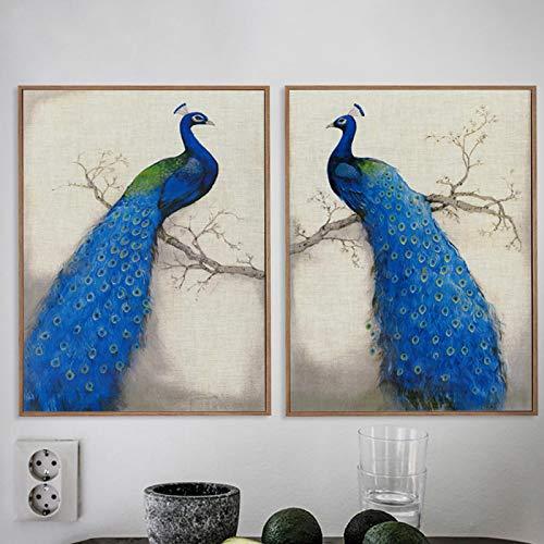 KELEQI Pavo Real Lienzo Pintura poesía Estilo Retro Azul de pie árbol impresión Cartel Imagen Pared Elegante decoración del hogar 8'x14 (20x35cm) x2 con Marco