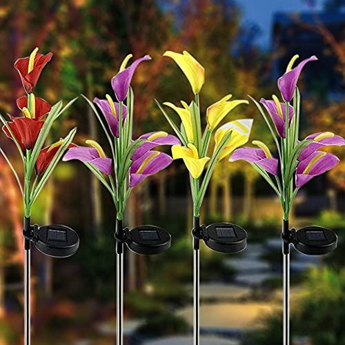 Luces solares al aire libre, paquete de 4 luces LED solares de jardín con 16 flores de cala, luces de estaca de jardín cambiantes multicolor para patio, césped, jardín, decoración de patio