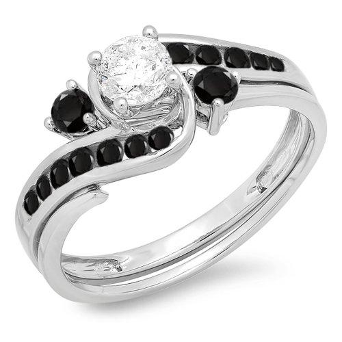 Damen Ring/Ehering 0.90 Karat 18 Karat Weißgold Rund Schwarz Diamant Verlobungsring Ehering Set