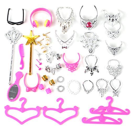 Yushu 38 unids/set muñeca accesorios simulación joyería collar corona pendientes rosa bebé muñecas conjunto accesorios niñas juguete