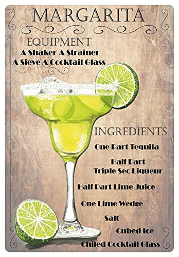 Metalen bord 20x30cm cocktail recept bord Margarita tequila limoen ijs