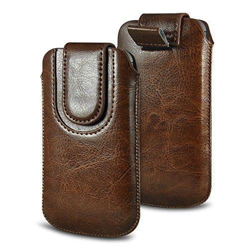 N4U Online Various Farbig Magnetisch PU Leder Zug Kippen Tab Schutzhüllen Tasche für Doogee X5S - Braun