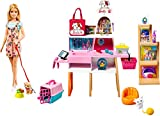 Barbie Tienda de mascotas Muñeca con establecimiento de animales y accesorios para mascotas de juguete (Mattel GRG90)
