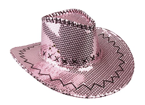 Luxuspiraten - Damen Karnevalsaccessoire - Cowboyhut mit Pailletten+Nähten, Rosa