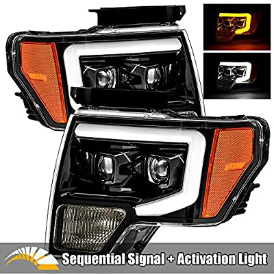 AlphaRex PRO-Series Jet Black with Smoke Lens For 09-14 Ford F150 LED Tube Dual Projector Headlights with Switchback DRL/Sequential Signal/Activation Light