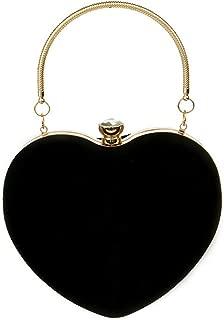 Buddy Mini Handbag Women Heart Shape Clutch Purse Velvet Shoulder Bag Evening Tote Chain Purse