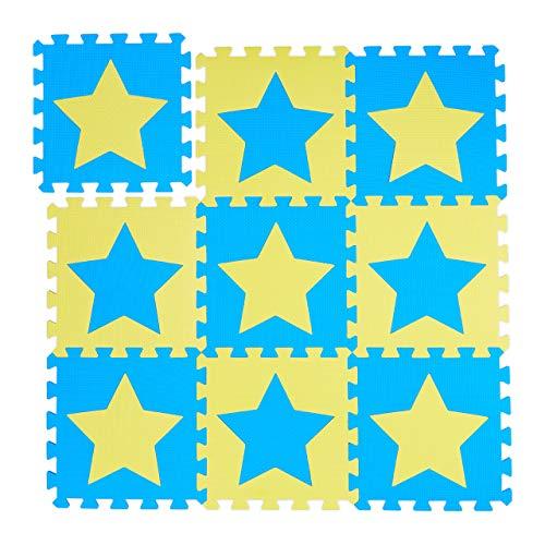 Relaxdays Puzzlematte Sterne, 9er Set, 18 Teile, EVA Schaumstoff, schadstofffrei, Spielunterlage 91 x 91 cm, blau-gelb