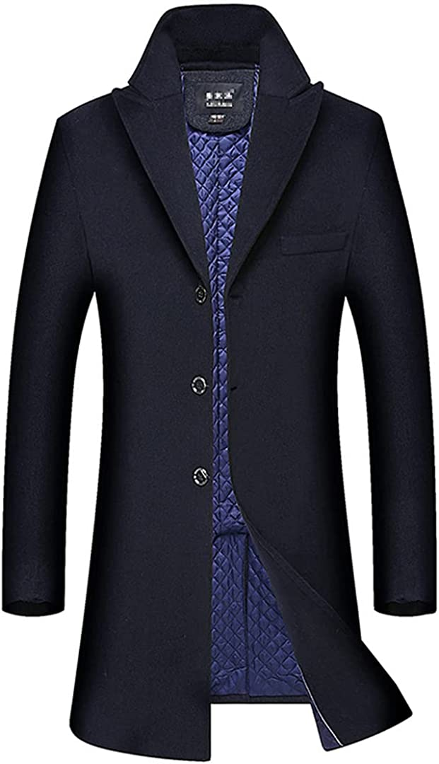 Mens Wool Blend Coat Men's Fashion Business Casual Wool Overcoat Long Section Wool Coat