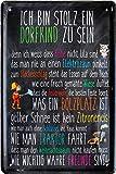 Ich Bin stolz EIN Dorfkind zu Sein Metallschild 20 x 30 cm Deko Blechschild 109