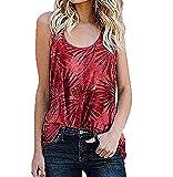 Chaleco Sin Mangas Casual para Mujer Cuello Redondo Estampado De Leopardo Estampado Floral Camiseta con Cuello En U Blusa