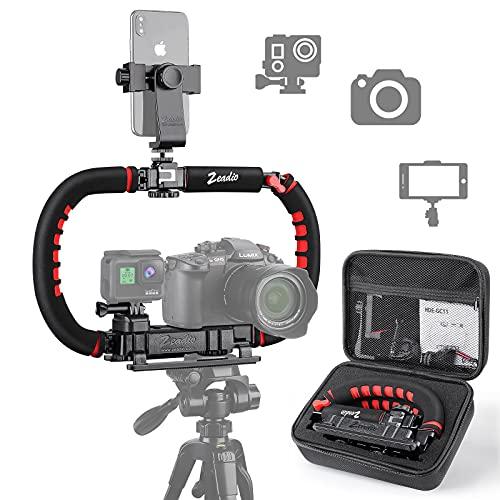 Zeadio Estabilizador para cámara teléfono GoPro, Empuñadura plegable, Aparejo de video para todos GoPro, smartphone, cámara, videocámara, DSLR, teléfono inteligente, iPhone, Huawei, Samsung, etc