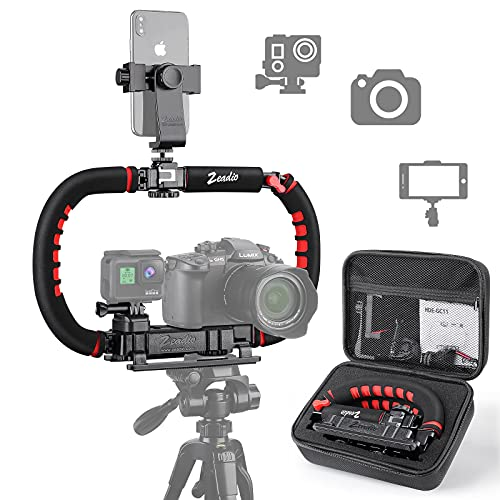Zeadio Camera Smartphone Stabilizer, Foldable Handle Grip Handheld Video Rig with Carrying Case, Fits for All Camera, Camcorder, Action Camera, DSLR and All iPhone and Android Smartphones