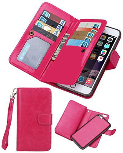 Black Deals Friday Cyber Deals Monday Sales-iPhone 8Plus iPhone 7Plus Wallet Case,Valentoria Leather Wallet Case Magnetic Detachable Slim Back Cover Card Holder Wrist Strap(iPhone 7 Plus, Hot Pink)