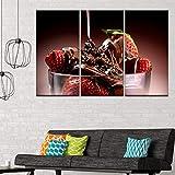 GYSS 3 Tafeln Leinwandbild Erdbeeren Mit Schokolade 3