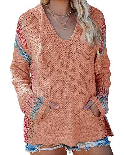 Saodimallsu Womens V Neck Hooded Sweaters Striped Loose Long Sleeve Lightweight Pullover Knit Jumper with Pocket (Large, Z-Orange)