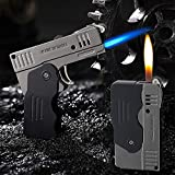 Morisk Torch Lighter Switchable Soft / Jet Flame Cigarette Cigar & Pipe Lighter Butane Refillable with Lockable Function for Tobacco, Cool Foldable Llighters Unique Gifts for Men(Butane Not Included)