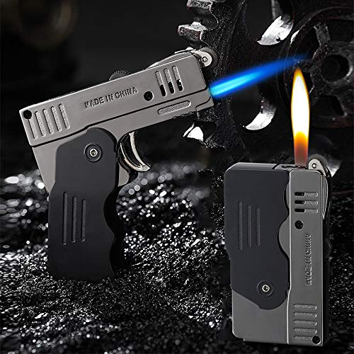 Morisk Torch Lighter Switchable Soft/Jet Flame Cigarette Cigar & Pipe Lighter Butane Refillable with Lockable Function for Tobacco, Cool Foldable Llighters Unique Gifts for Men(Butane Not Included)