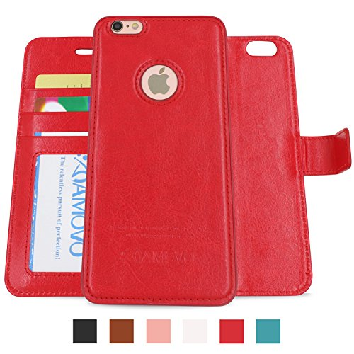 AMOVO Case for iPhone 6 [2 in 1], Vegan Leather 2 in 1 Folio Detachable Wallet Case with Box for iPhone 6/iPhone 6s case (iPhone 6/6s (4.7'') Red)