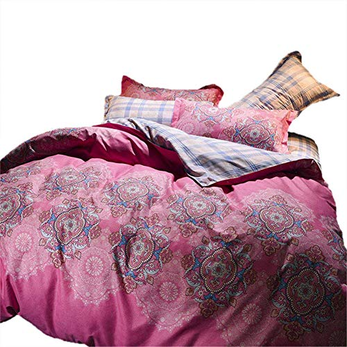 JNBGYAPS 3D Effect Printed duvet cover Pink Alice Bedding set with Pillocases (with Zipper Closure) Soft Microfiber Quilt Cover Single 220X240cm