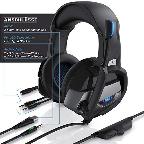 CSL - Gaming Headset für PC PS4 - PC Xbox One Xbox One S Xbox One X PS4 PS4 Pro PS5 - Klinkenanschluss - Kopfhörer Mikrofon - LED Beleuchtung - Professional - stoffummanteltes Kabel