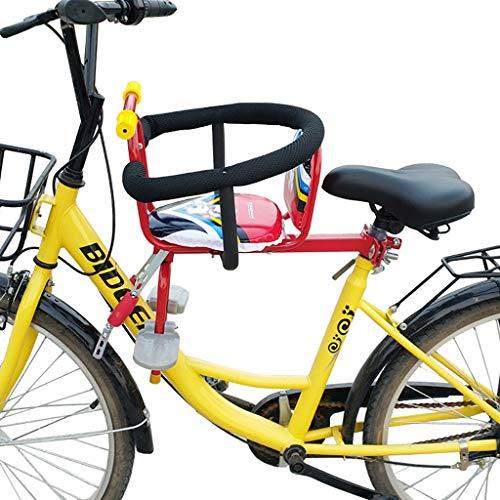 ELSP Asiento de Bicicleta para Niños Delantera con Barandilla Protectora y Respaldo Seguro, Desmontaje Rápido Asiento Delantero Reversible para Bicicleta para Bebé - Máx. 30 Kg