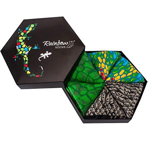Rainbow Socks - Damen Herren Lustige Reptile Socken Box Geschenk- 3 Paar - Schlange Chamäleon Alligator - Größen 41-46