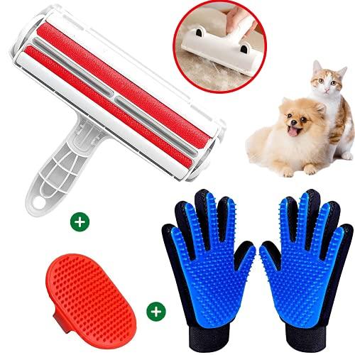 KafooStore Tierhaarentferner, Fusselbürste für Tierhaare mit 2 Haustier Bürsten Handschuh und 1 Haustier-Badebürste für Hundehaare Katzenhaare, fusselrolle tierhaare für...