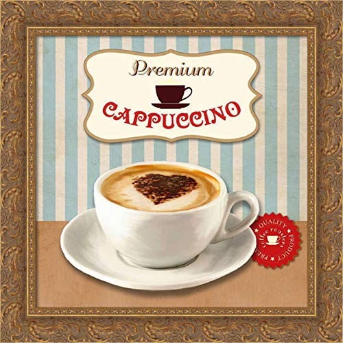 Teller, Skip 20x20 Gold Ornate Framed Canvas Art Print Titled: Premium Cappuccino