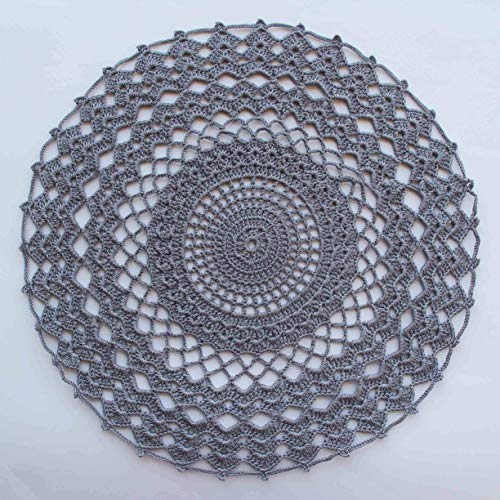 Handmade crocheted doilies table mat kitchen grey color placemat for home accessories handmade gray doily