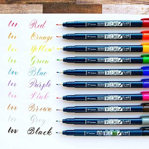 トンボ鉛筆水性サインペン筆之助しっかり仕立て10色セットWS-BH10C